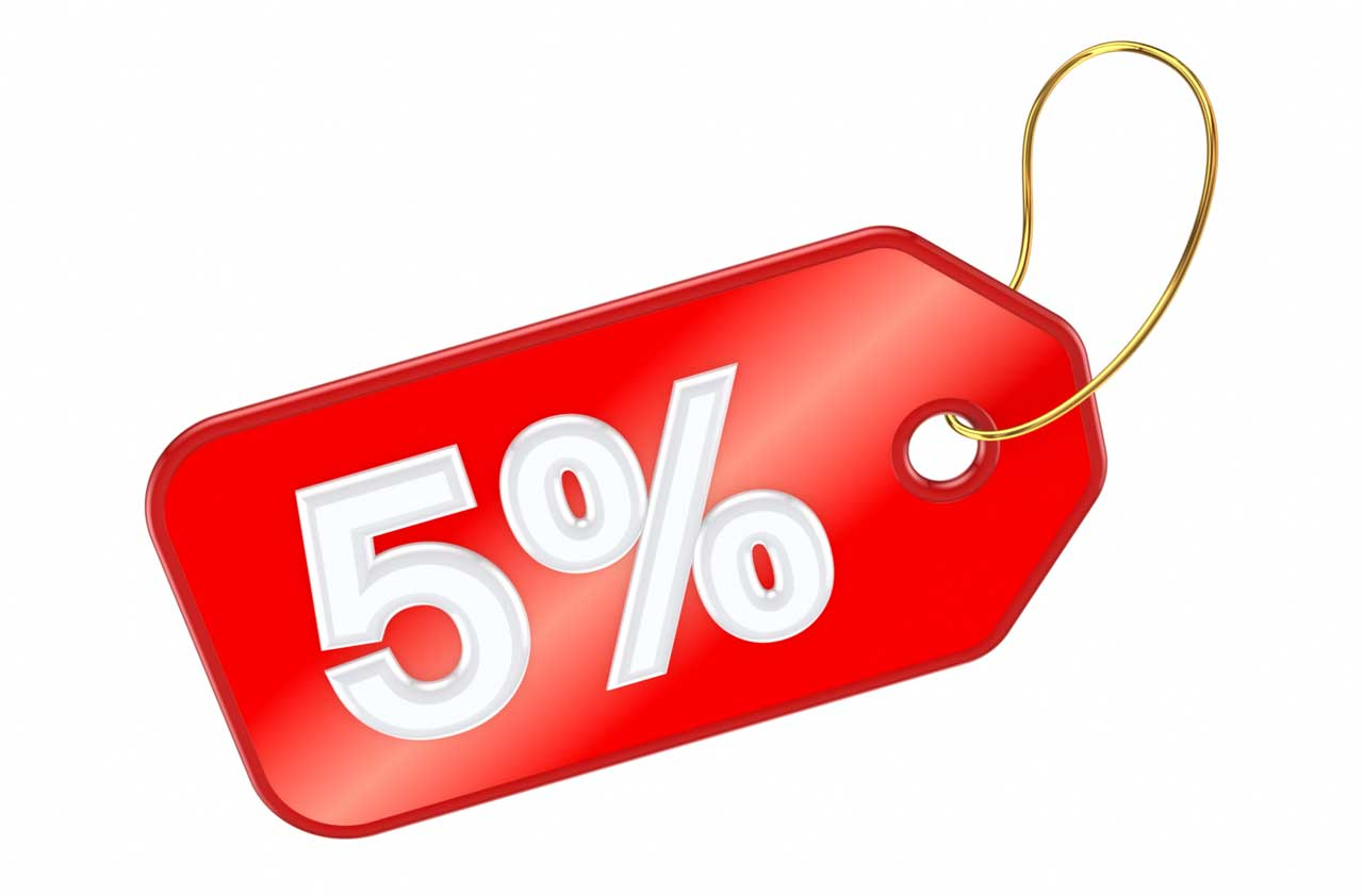 5% Abschlag, discount, korting
