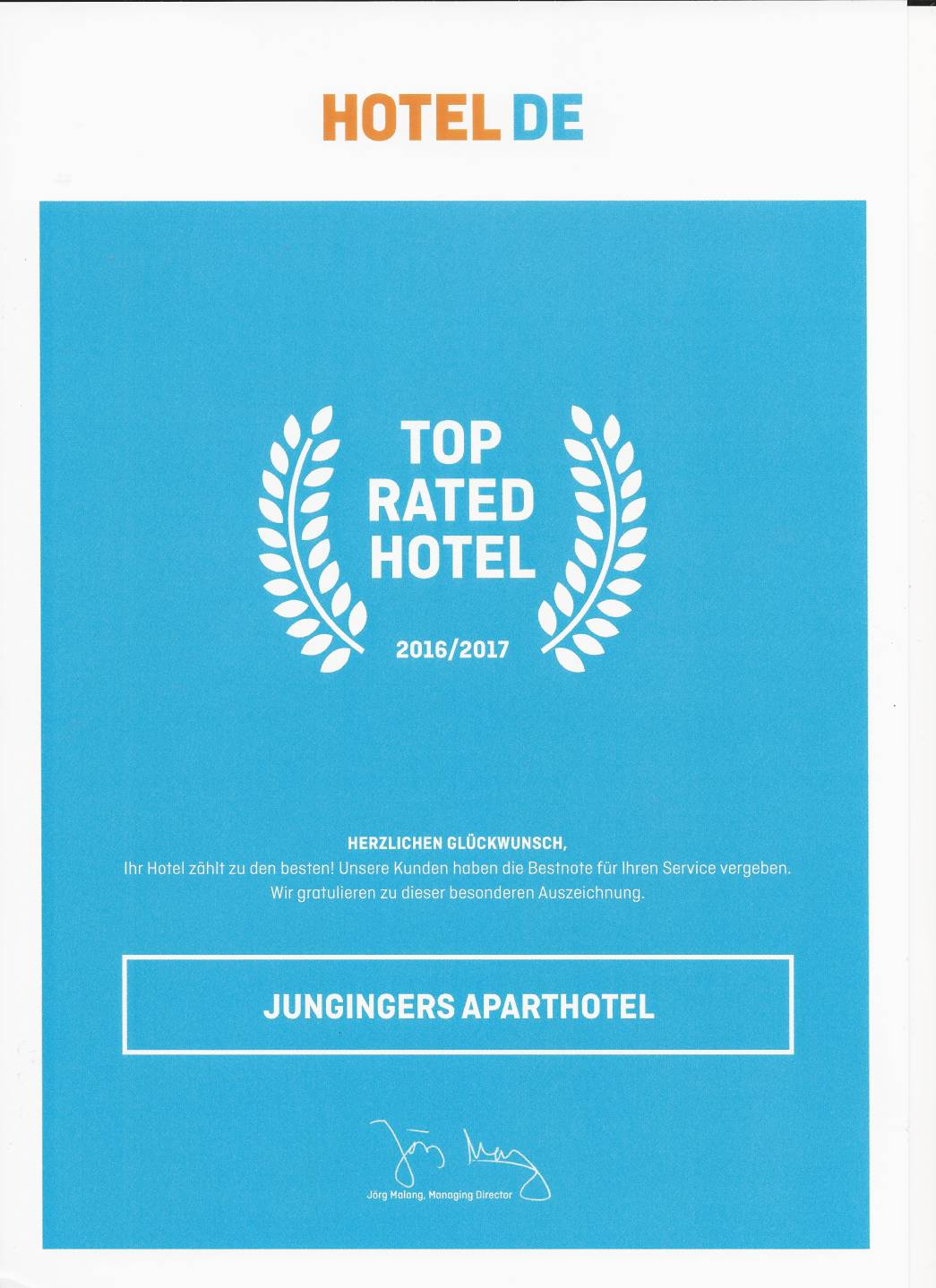 "HOTEL DE Award ""Top Rated Hotel"""