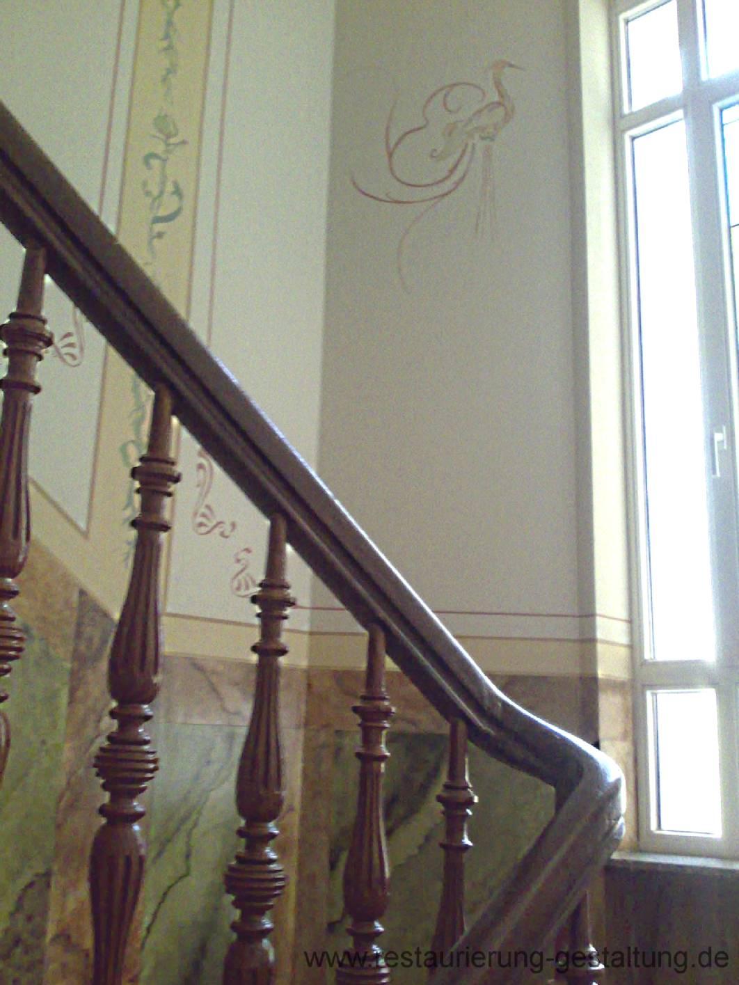 deckenmalerei und wandmalerei im treppenhaus mit marmormalerei und holzmalerei. Black Bedroom Furniture Sets. Home Design Ideas