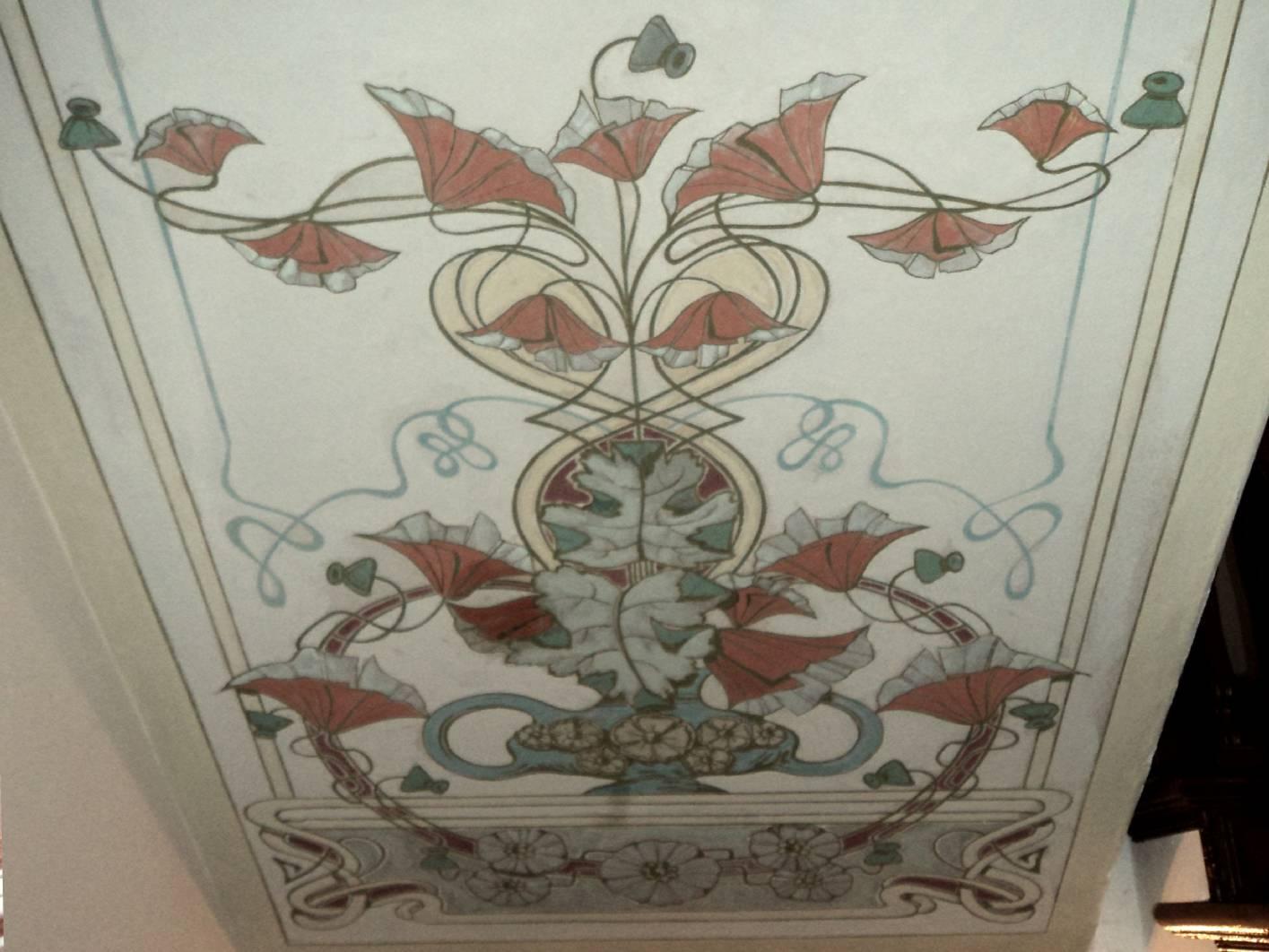 Malermeister schimpf hat eine musterachse im jugendstil treppenhaus mit deckenmalerei - Schablone wandmalerei ...
