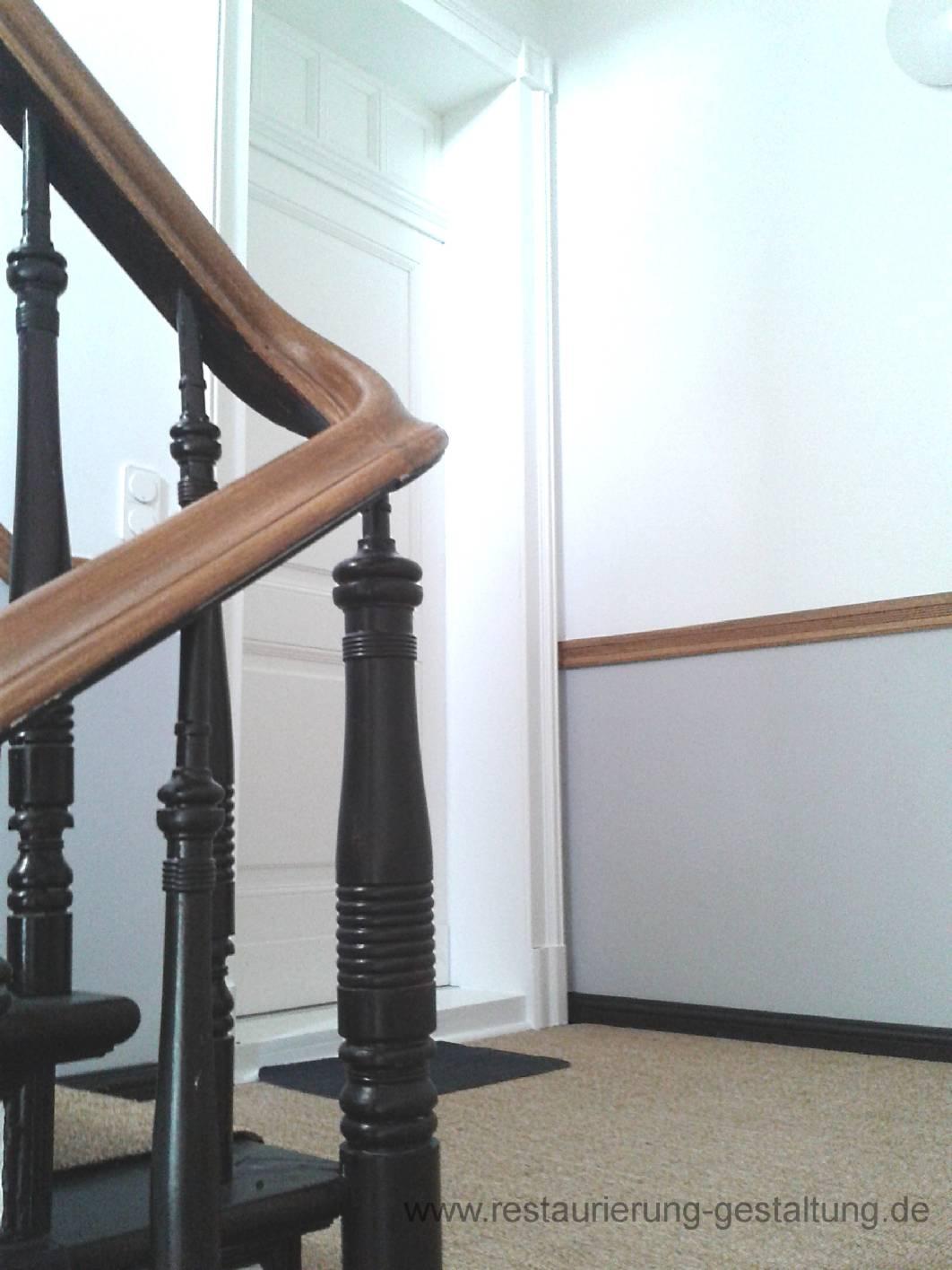 treppenhaus holzmalerei holzimitation restaurator. Black Bedroom Furniture Sets. Home Design Ideas