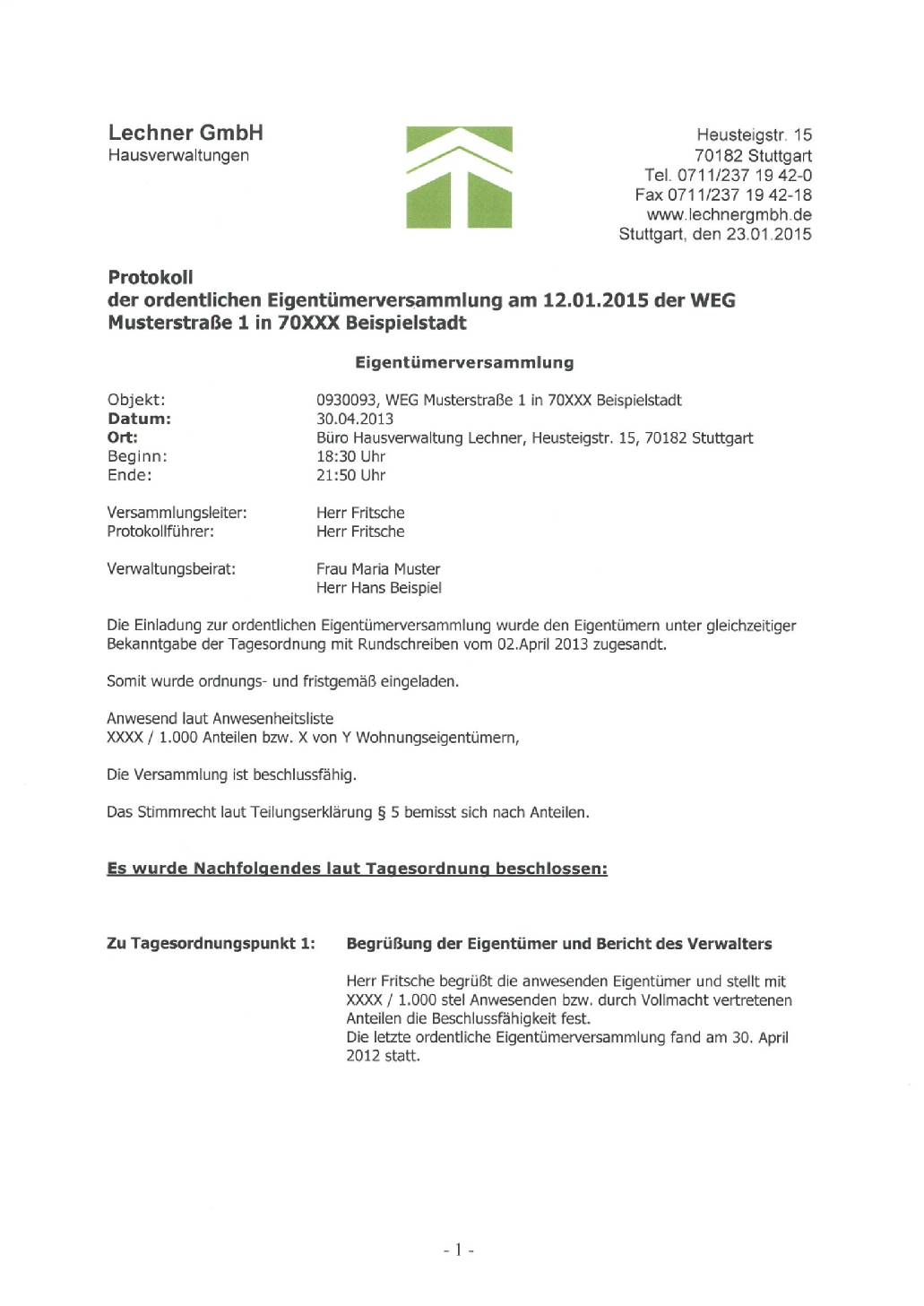 lechner gmbh hausverwaltung in stuttgart - eigentümerversammlung, Einladung