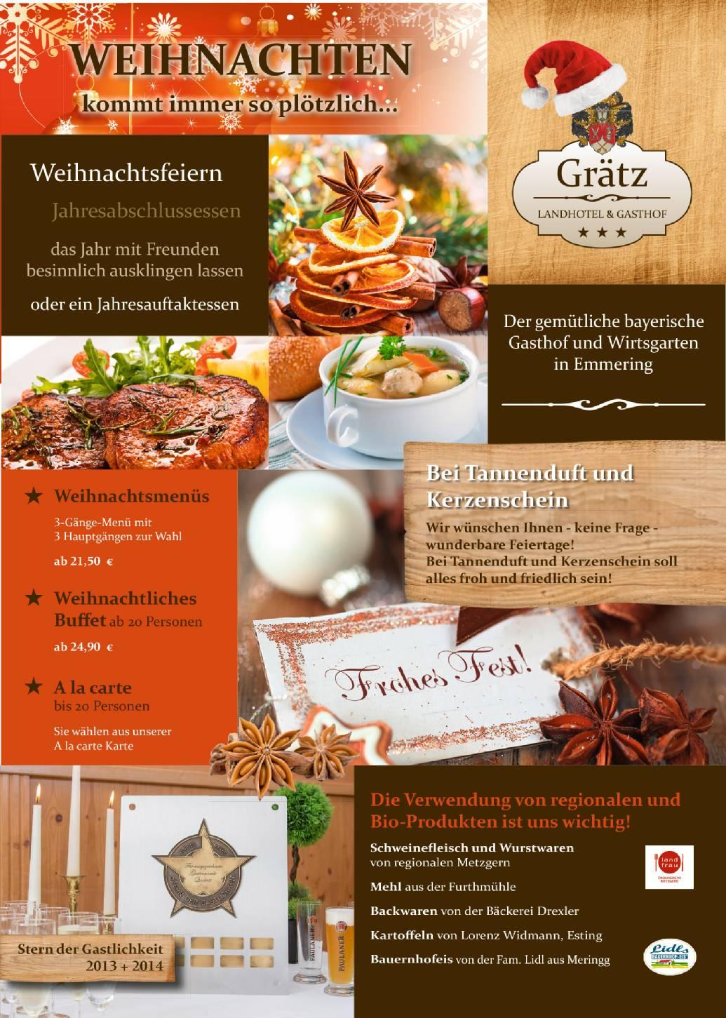 Angebot Weihnachtsfeier.Landhotel Mit Bayrischem Restaurant Und Wirtsgarten Direkt An Der