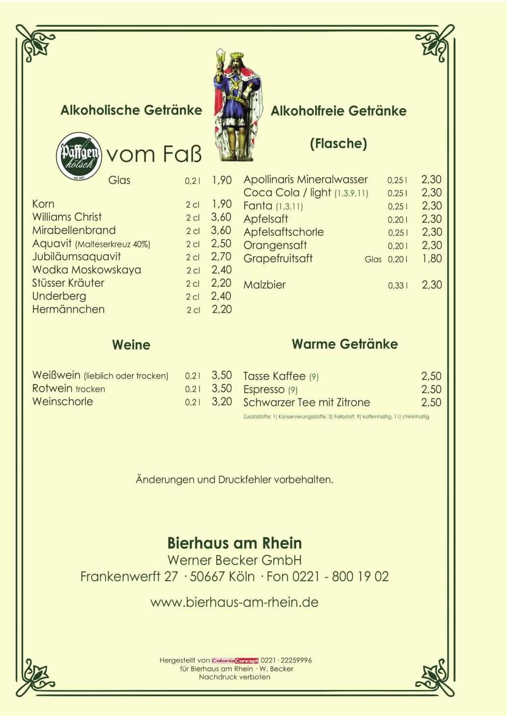 Bierhaus am Rhein in Köln - Getränkekarte