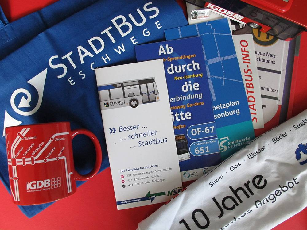 Folder und Give-aways für ihr ÖPNV-Marketing