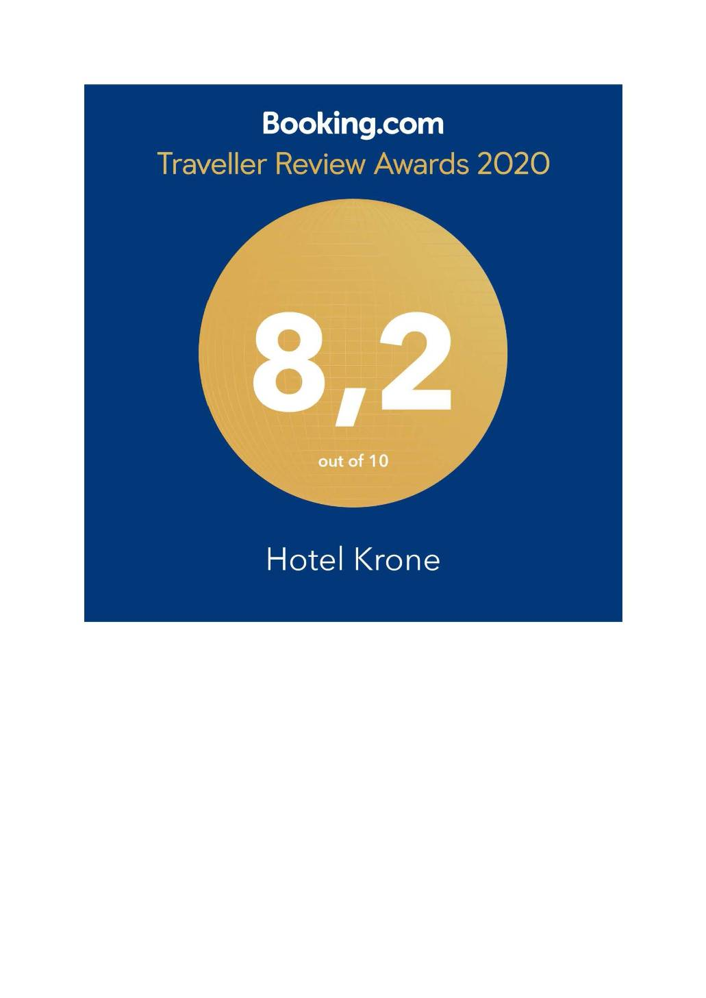 Booking Award 2020 HOTEL KRONE