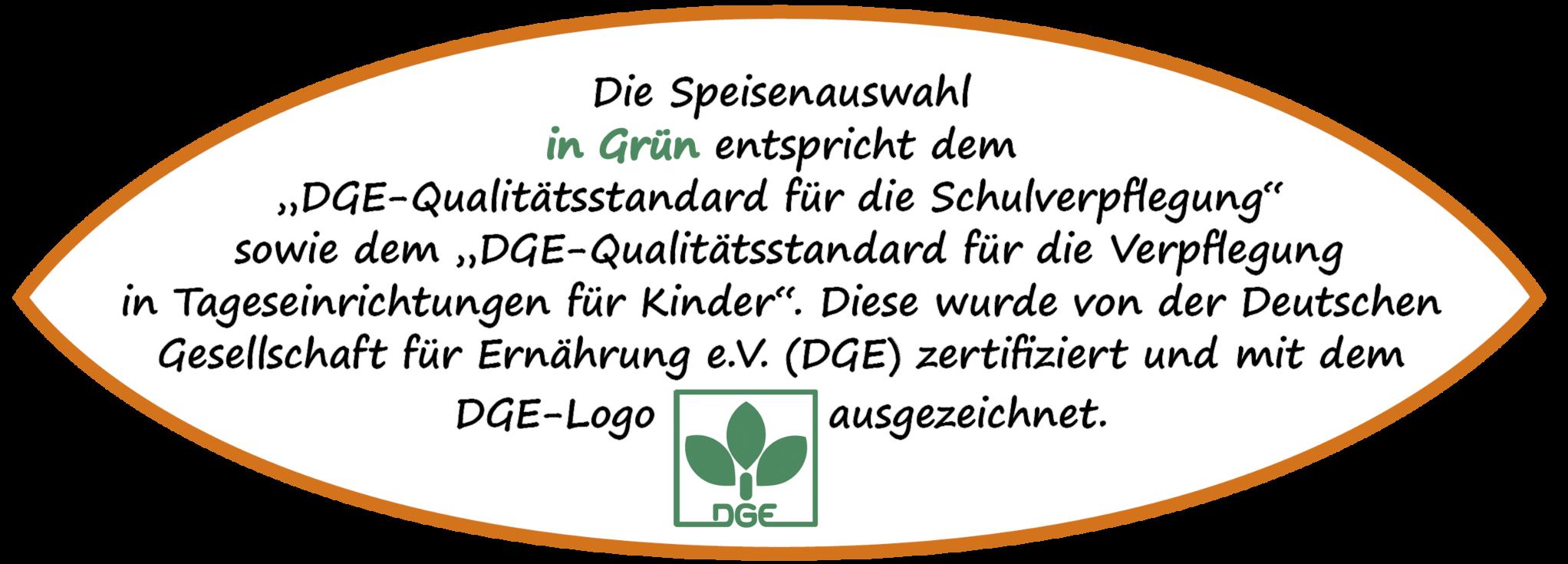 Die grüne Menülinie in den Menüplänen von El Tucano            wurde von der DGE(Deutsche Gesellschaft für Ernährung)            zertifiziert.