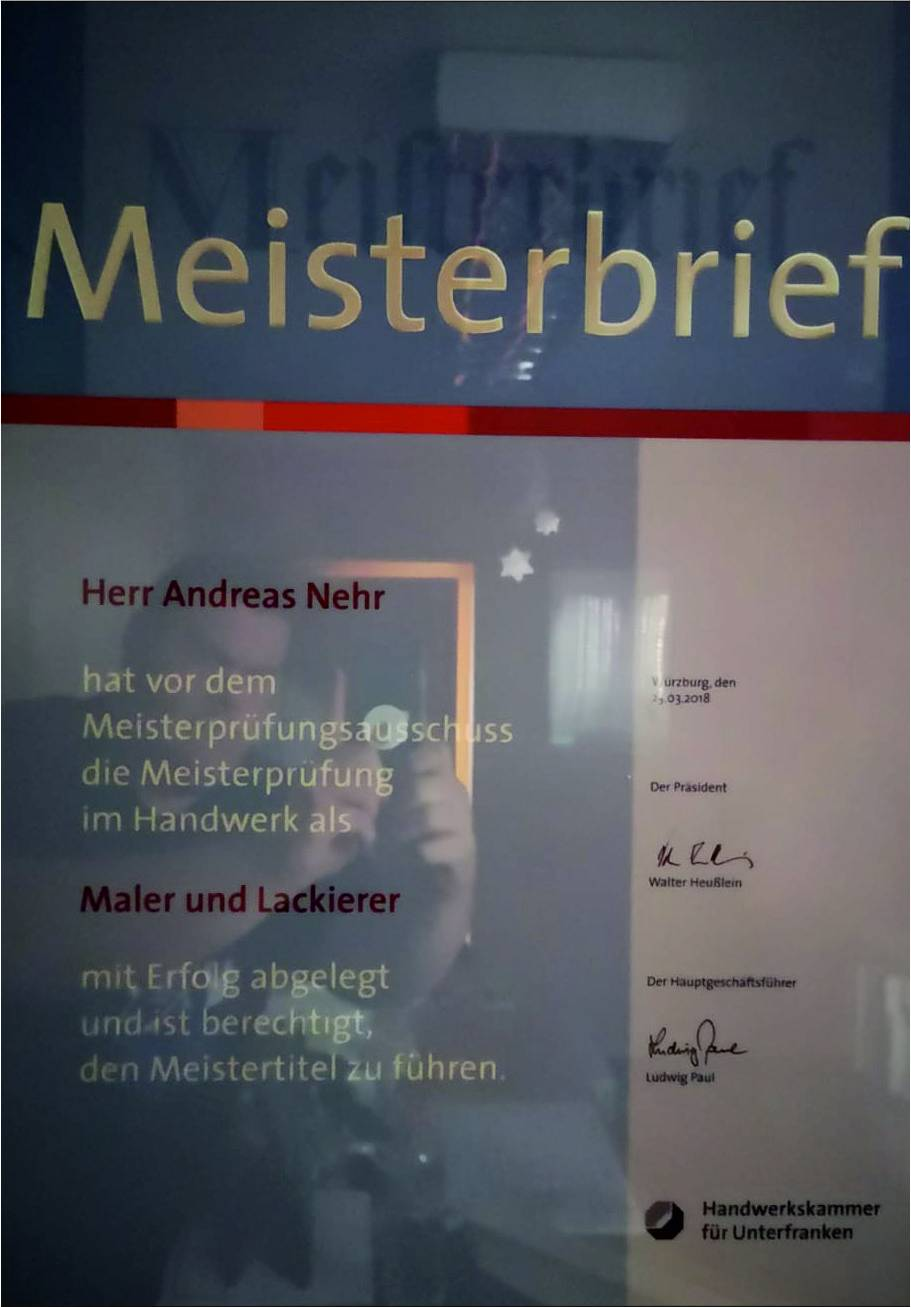 Meisterbrief Andreas Nehr