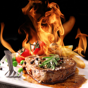 Steak mit Flamme