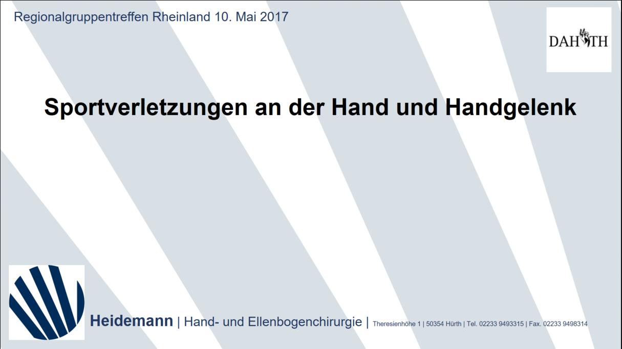 Heidemann - Hand- und Ellenbogenchirurgie in Hürth - Aktuelles